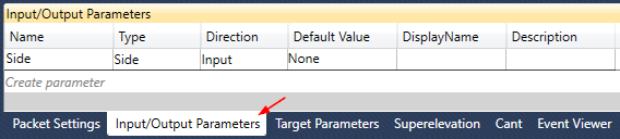 Input and Output Parameters Tab